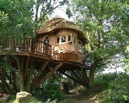 Casa na árvore com sacada redonda