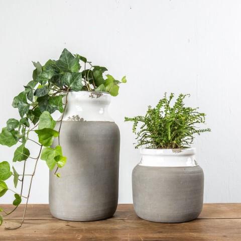 Como fazer vaso de cimento com pintura branca
