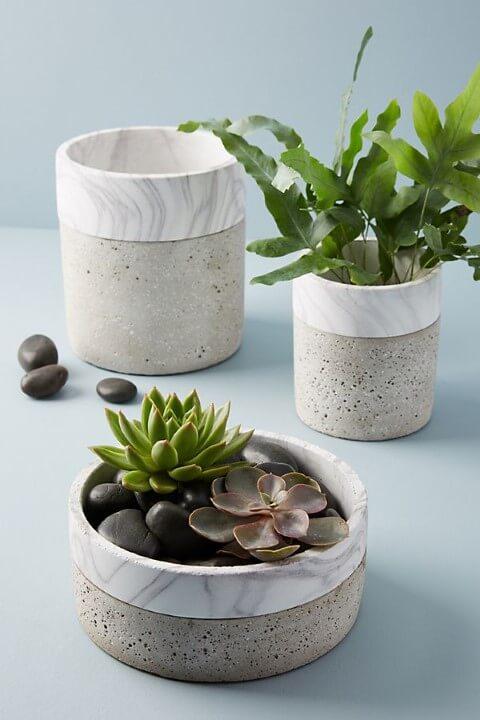 Como fazer vaso de cimento com pintura imitando pedra