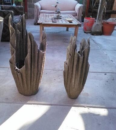 Como fazer vaso de cimento com toalha