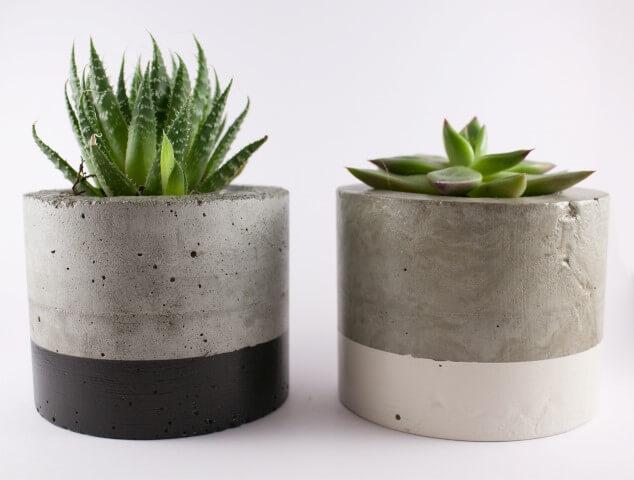 Como fazer vaso de cimento pintado