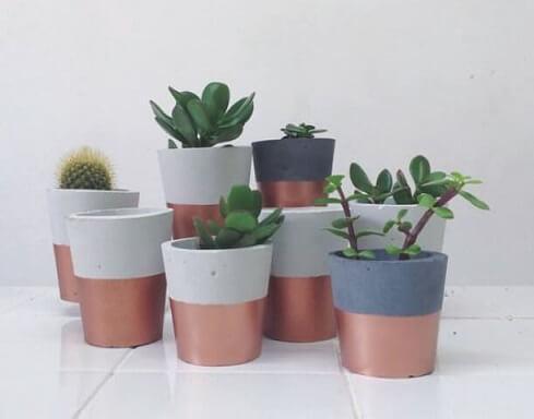 Como fazer vaso de cimento rosé