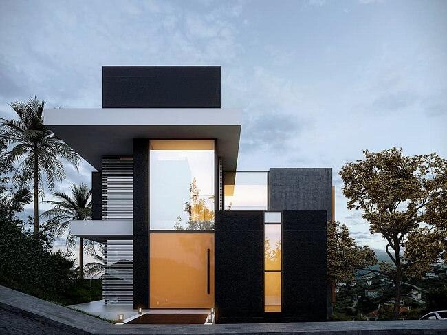 Frente de casas com parede de vidro