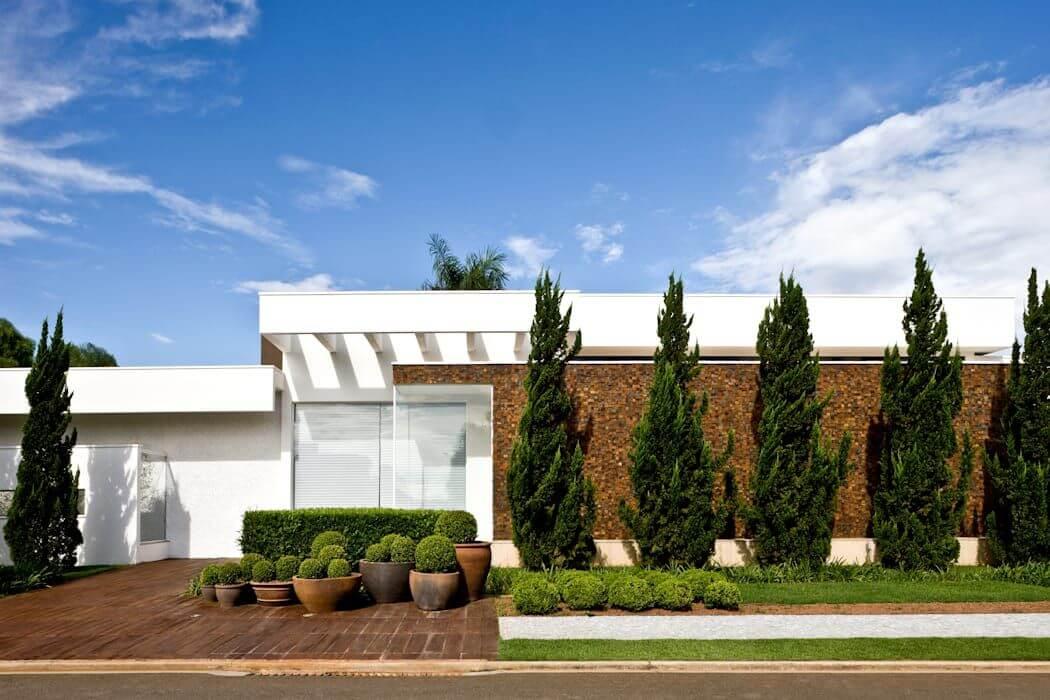 Frente de casas com plantas e vasos
