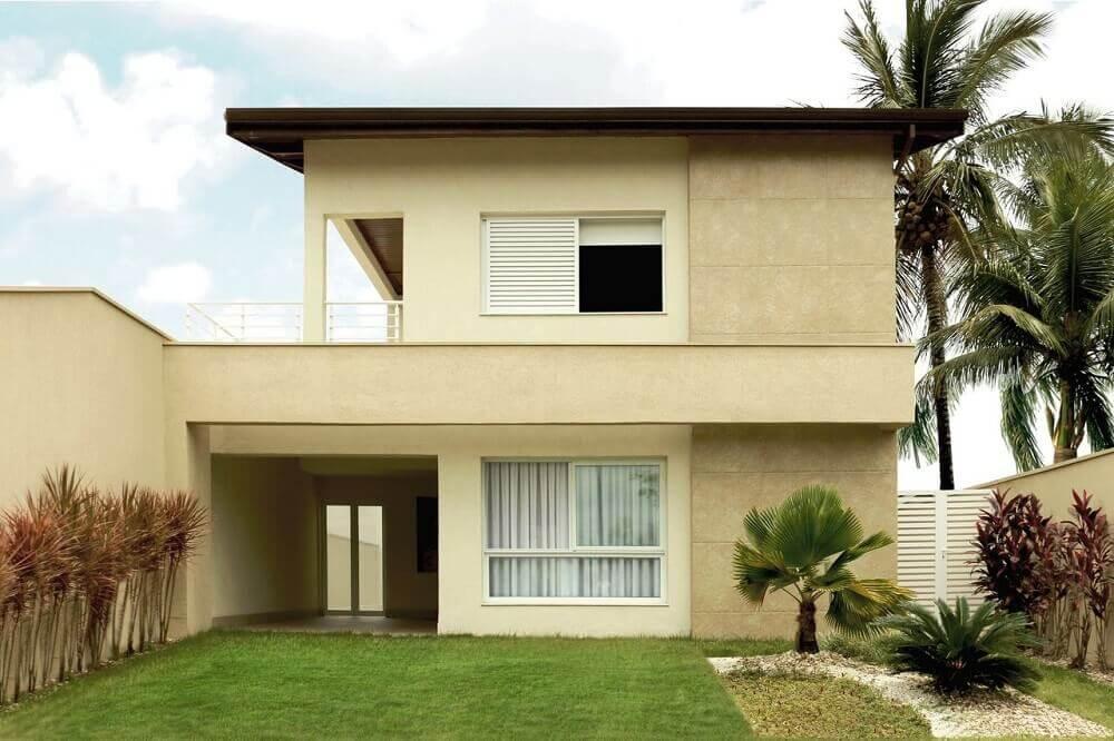 Frente de casas simples com sobrado