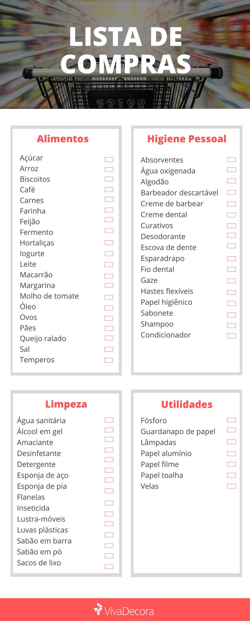 Infográfico - Lista de compras