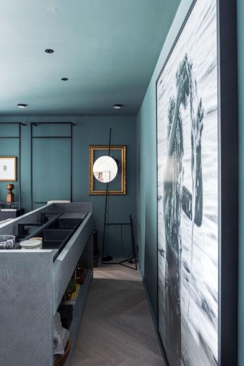 Lavabo azul Tiffany Projeto de Triart Arquitetura