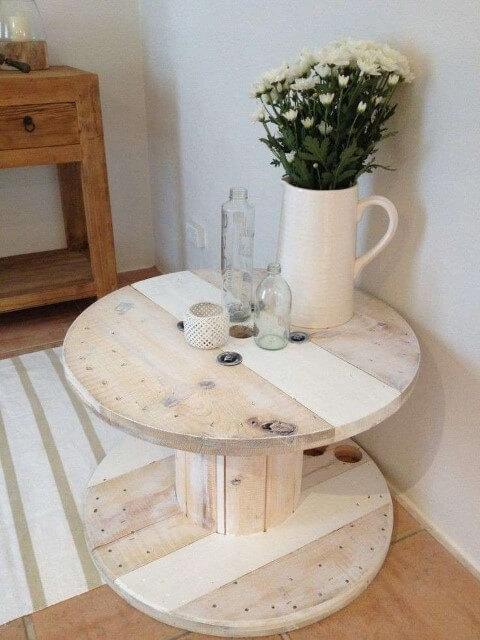 Mesa de carretel branca