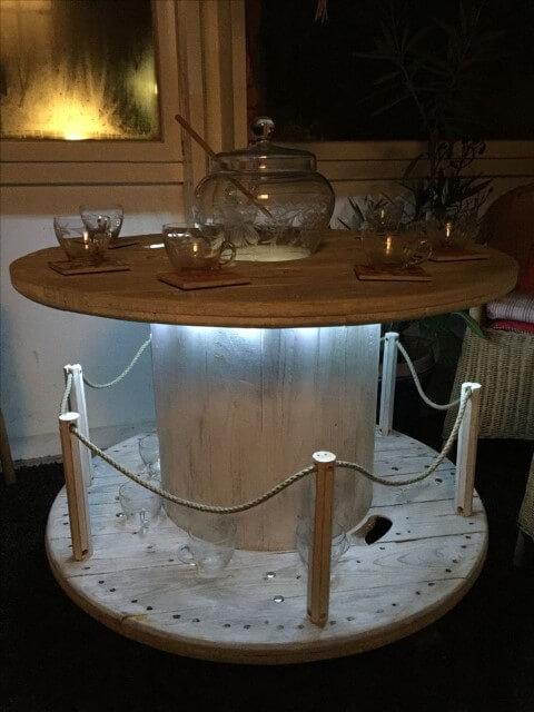 Mesa de carretel iluminada