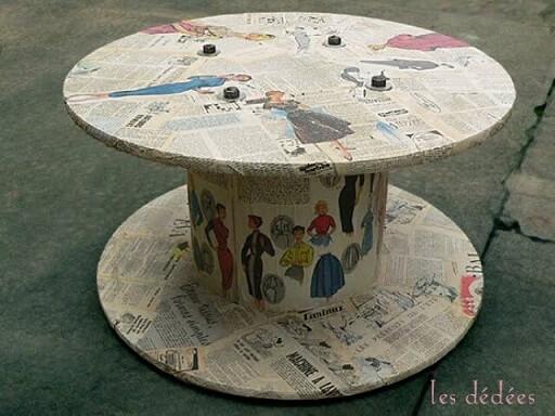 Mesa de carretel revestida com jornal