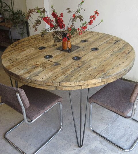 Mesa de carretel só de tampo