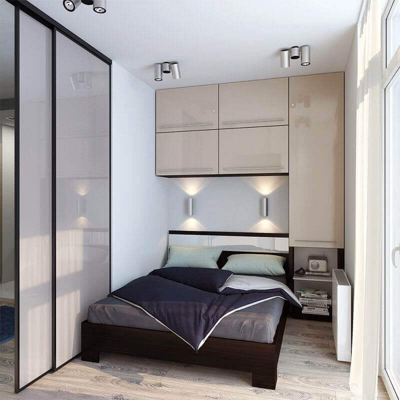 Modelo de guarda roupa embutido planejado para quarto pequeno