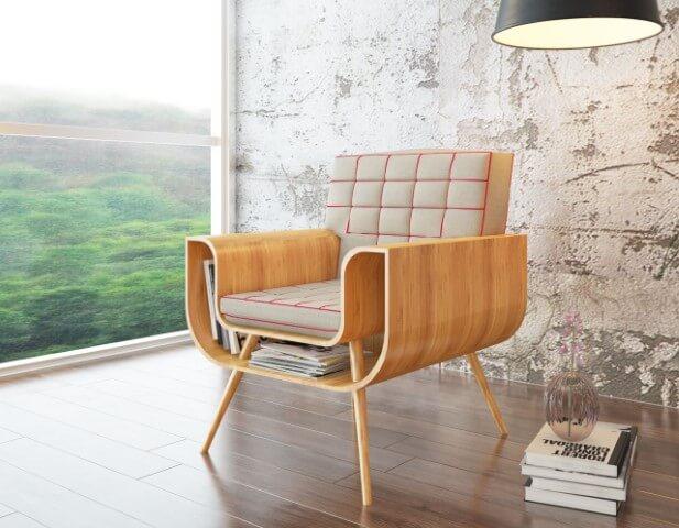 Modelos de poltronas com espaço para revisteiro Projeto de Bria Arquitetura