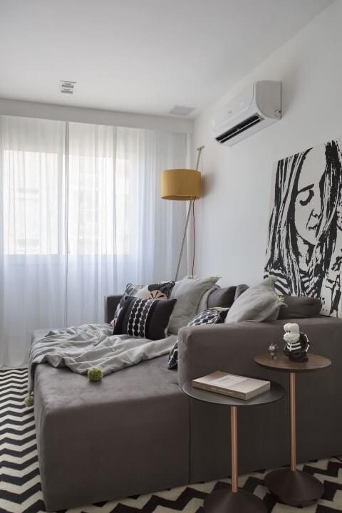 Modelos de sofá cama cinza Projeto de Fernanda Azevedo Mancini
