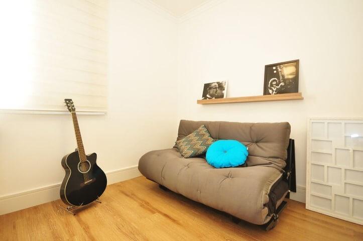 Modelos de sofá cama futon cinza Projeto de Condecorar