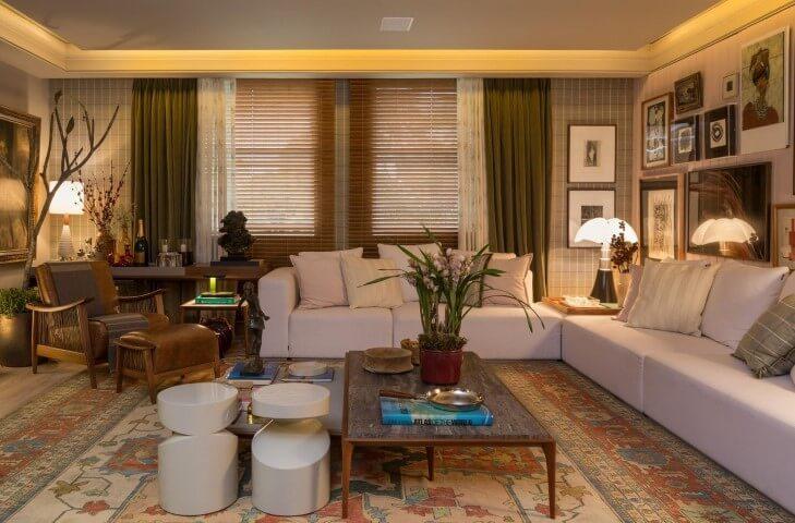 Modelos de sofá de canto branco Projeto de Casa Cor 2016