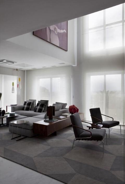 Modelos de sofá de canto cinza Projeto de AMC Arquitetura