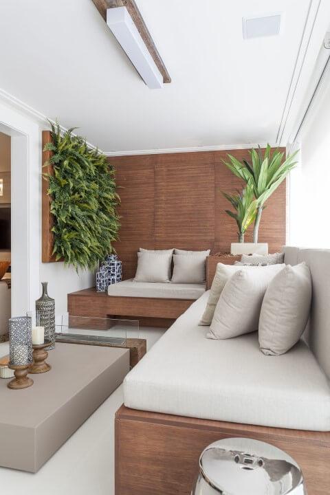 Modelos de sofá de canto de madeira Projeto de Mariana Luccisano