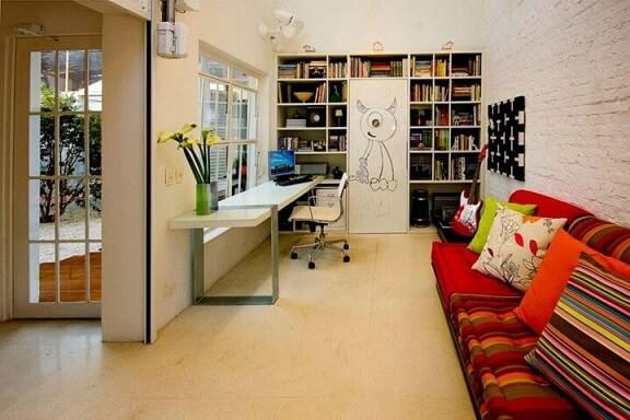 Modelos de sofá futon vermelho Projeto de AMFB Arquitetura