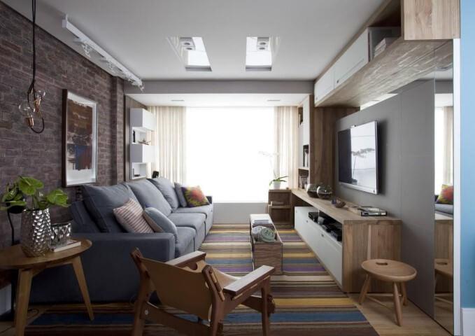 Modelos de sofá reclinável azul Projeto de Juliana Pippi
