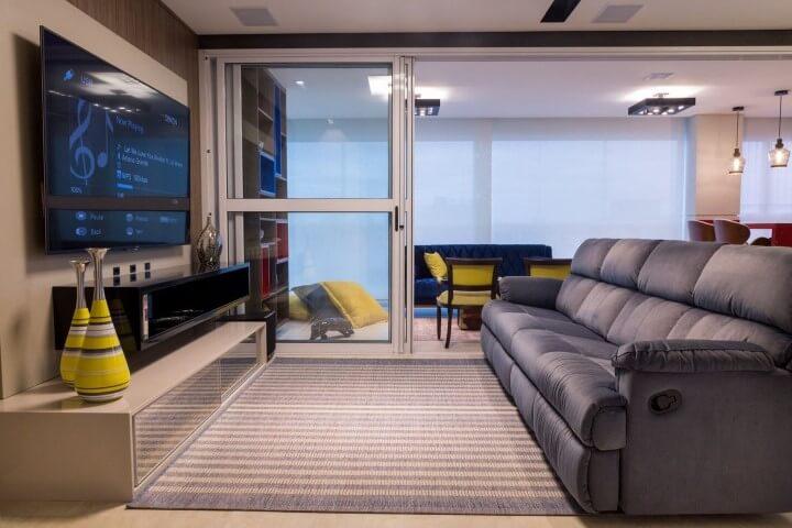 Modelos de sofá retrátil azul
