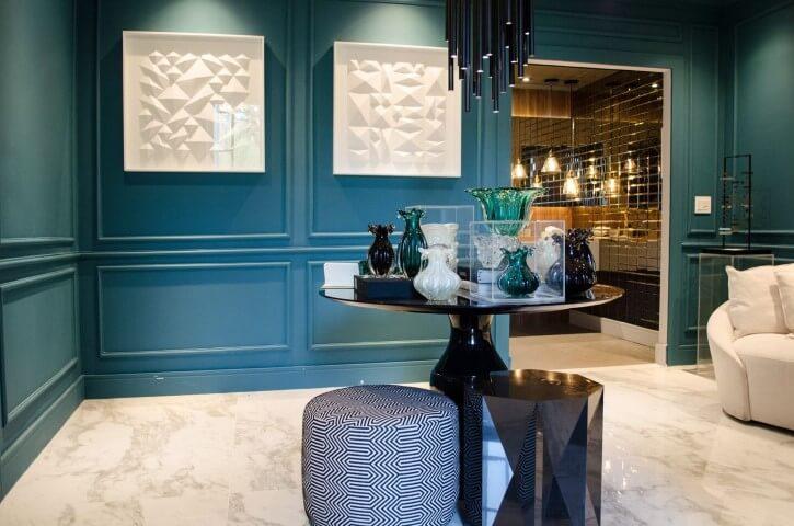 Paredes azul Tiffany Projeto de Casa Cor SP 2017