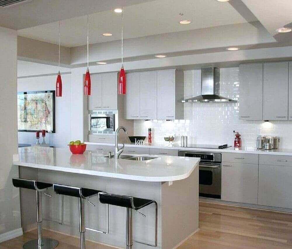 Pendente vermelho para cozinha