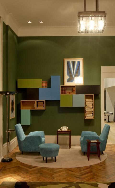 Poltronas azul Tiffany Projeto de AMC Arquitetura