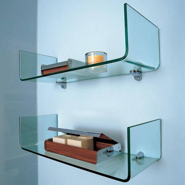 Prateleira de vidro voltada para cima