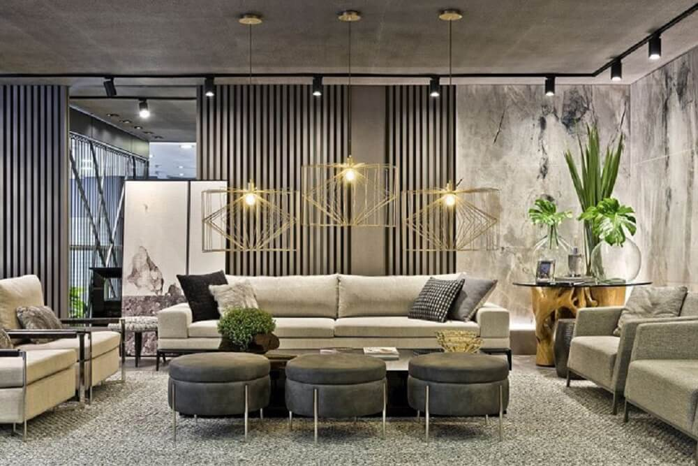 Trio de puff para sala encanta a decoração do ambiente