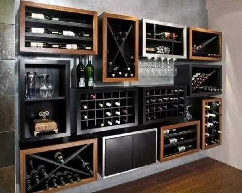 50 modelos de nichos para sala para decorar e otimizar o - Muebles para poner botellas de vino ...
