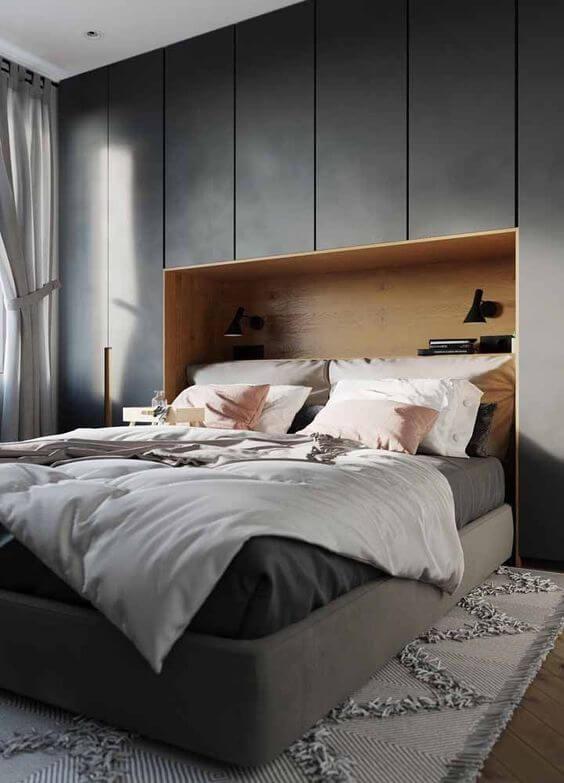 Armário embutido no quarto com guarda roupa embutido cinza escuro