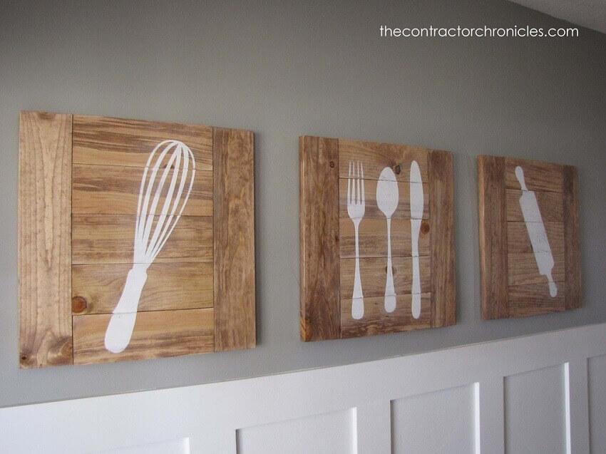 artesanato para cozinha com placas de madeira pintada