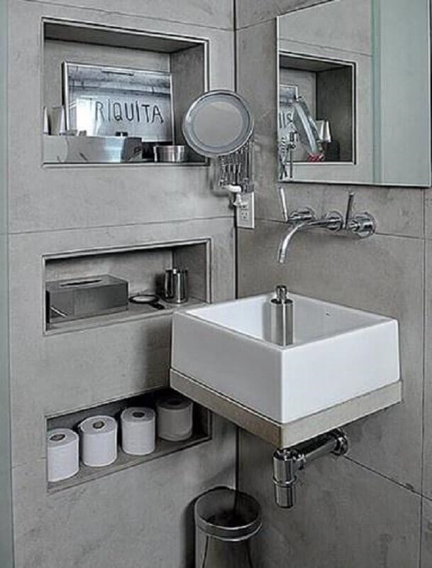 banheiro moderno com nicho embutido