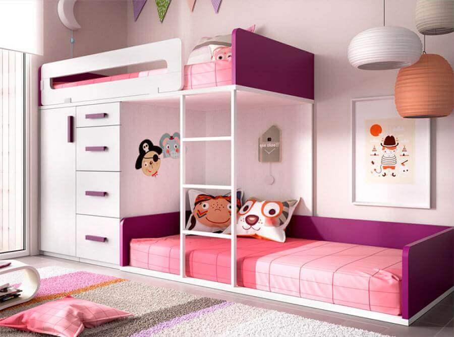 beliche com armário embutido para quarto de menina