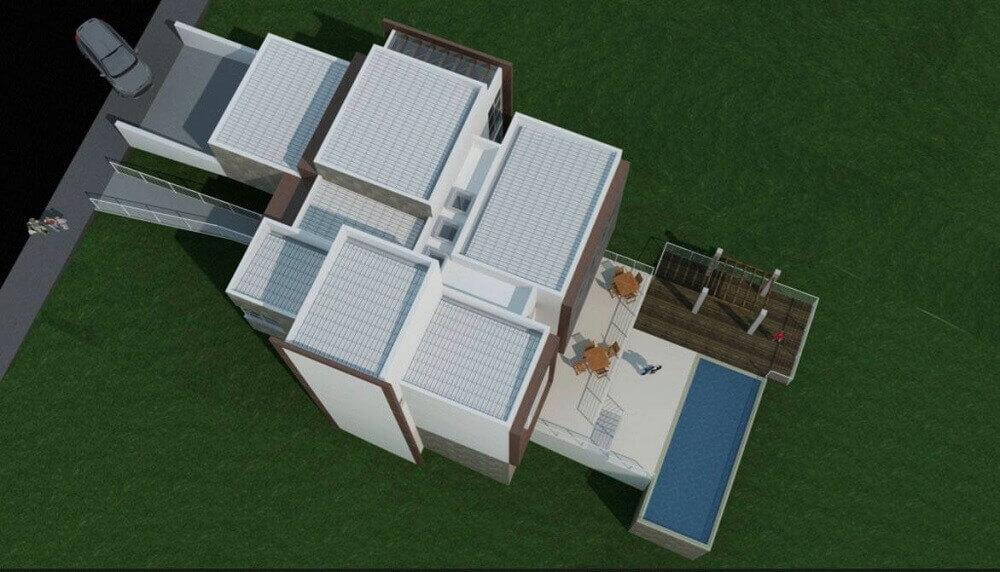 casa com telhado platibanda vista de cima