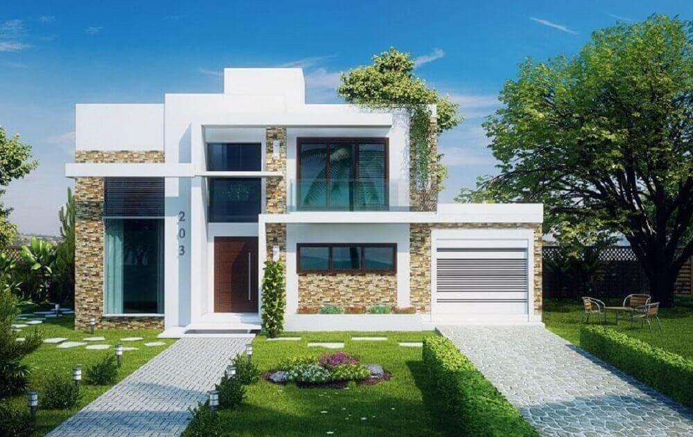 casas com telhado platibanda e revestimento de pedra na fachada