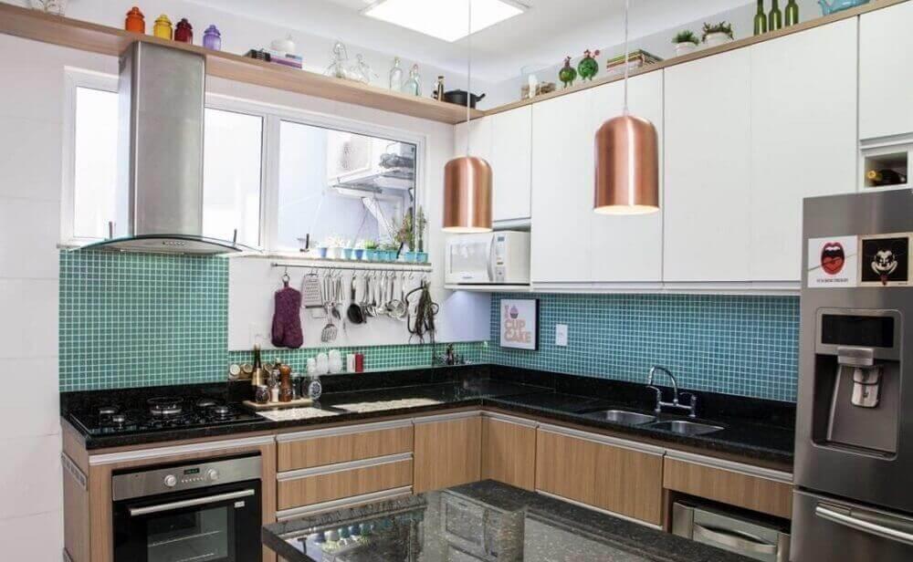 cor rose de pendente para bancada de cozinha
