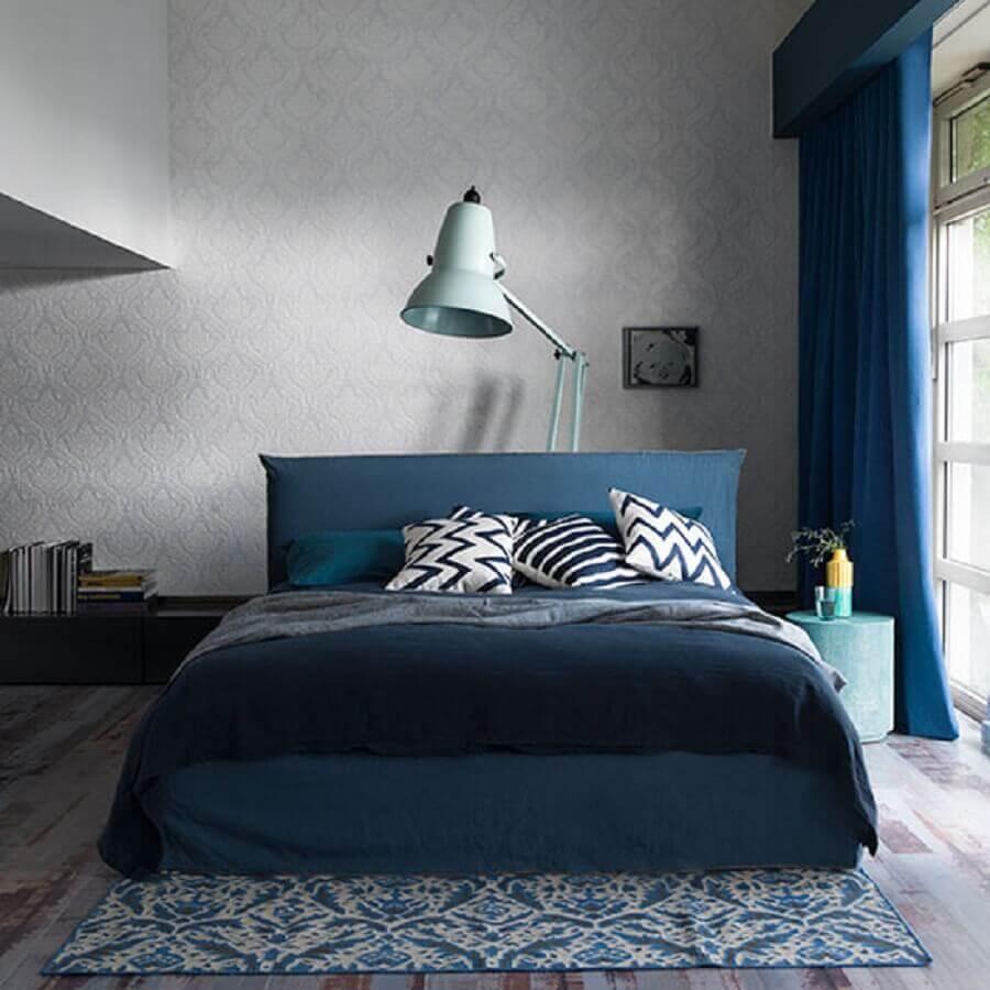 cores para quarto masculino em tons de cinza e azul