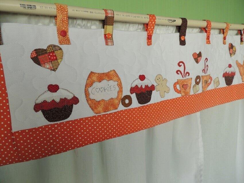 cortina de patchwork para cozinha