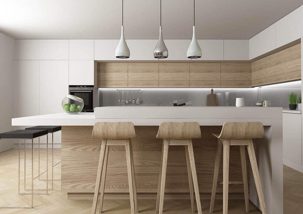 cozinha americana com pendentes diferentes