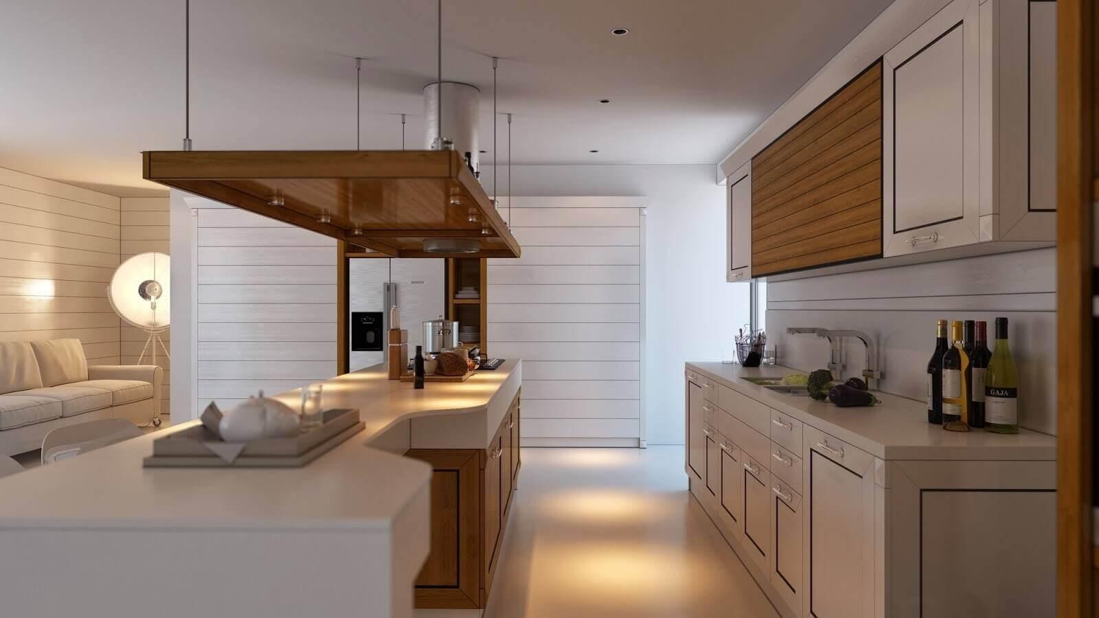 cozinha com coifa de madeira sobre a ilha