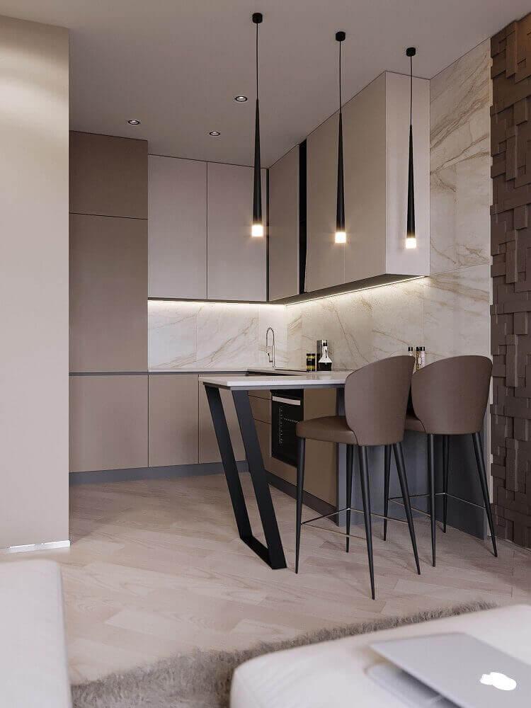 decoração com banquetas para cozinha com assento marrom e pendentes minimalistas pretos Foto Behance