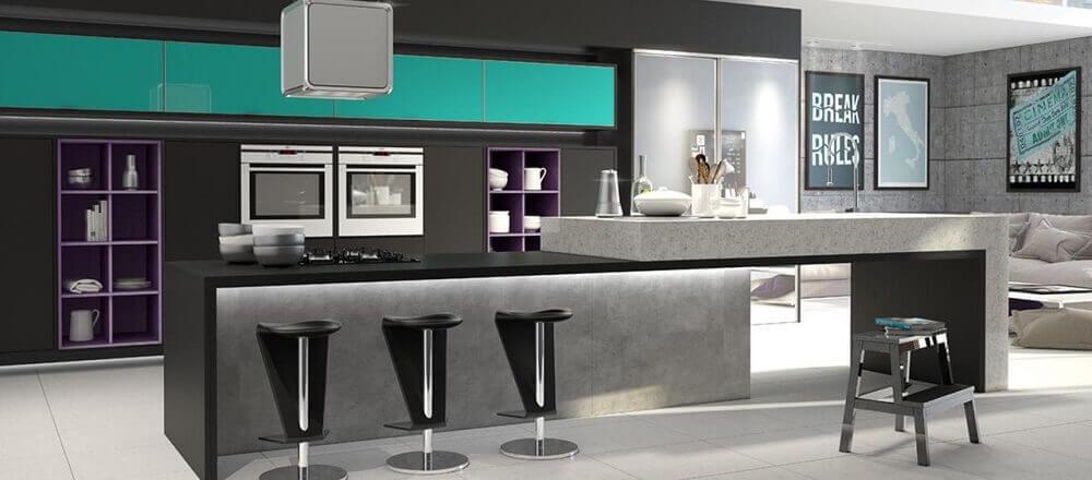 decoração com banquetas para cozinha com estilo moderno