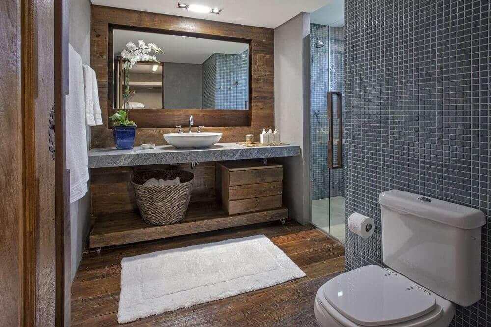 decoração de banheiro rústico com moderno