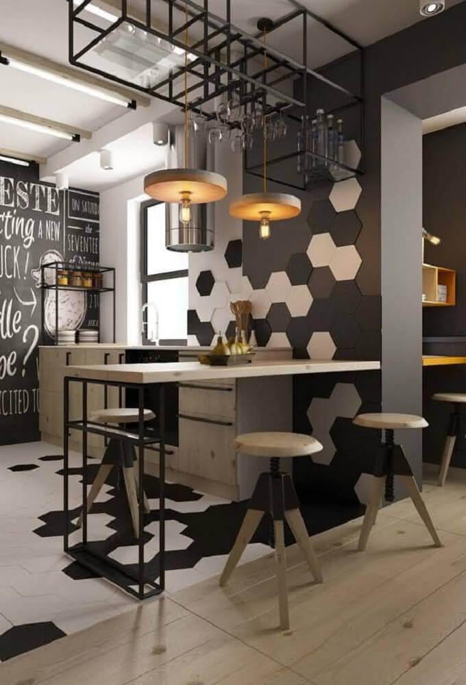 decoração moderna com banquetas baixas para cozinha
