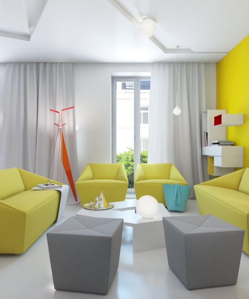 decoração moderna com puff para sala de estar amarela e cinza