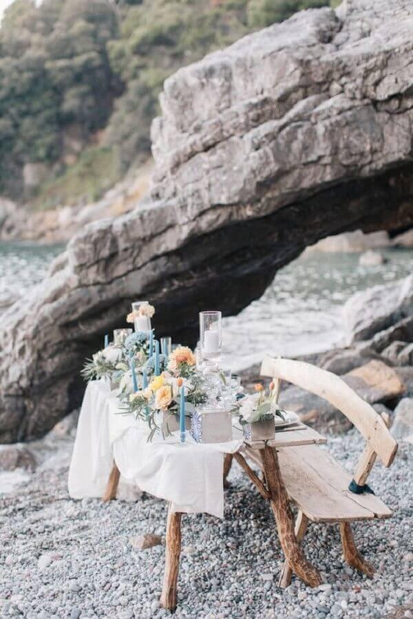 decoração rústica para casamento na praia simples Foto 100 Layer Cake