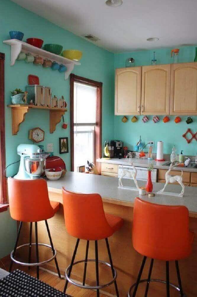 decoração simples com banquetas para cozinha Foto Home Design
