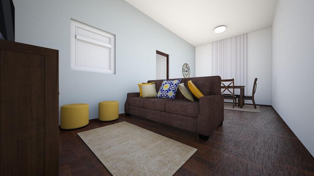 decoração simples com puff para sala pequena